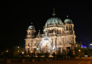 the berliner dome in germany by night